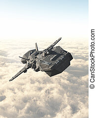Interplanetary Spaceship Above the Clouds - Science fiction...