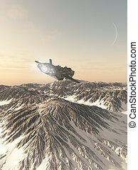 Interplanetary Spaceship Flying Over Snow Covered Mountains...
