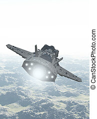 Interplanetary Spaceship Over Mountain Landscape - Science...