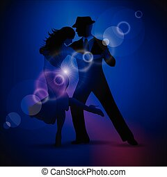 Vector design with couple dancing tango on dark background.