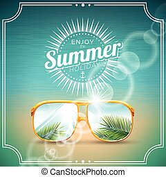 Vector illustration on a summer holiday theme with sunglasses.