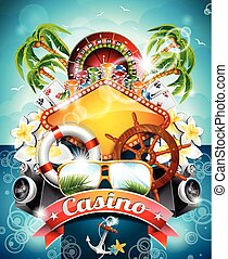 Vector illustration on a casino theme with roulette wheel...