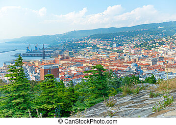Aerial view to city of Trieste in Italy. Panorama of sea...