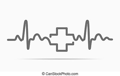 Heartbeat sign with medical cross. Vector illustration. -...