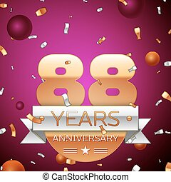 Realistic Eighty eight Years Anniversary Celebration Design. Golden numbers and silver ribbon, confetti on purple background. Colorful Vector template elements for your birthday party