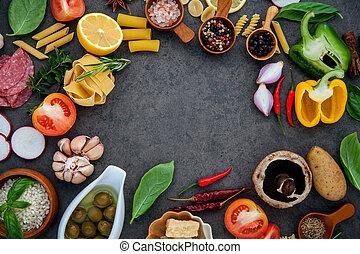 Italian food cooking ingredients basil, parmesan cheese...