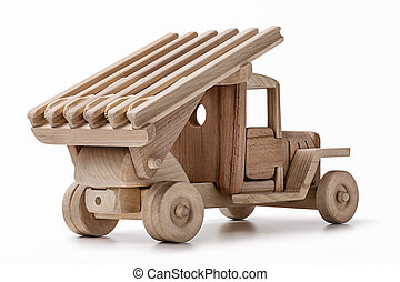 Handmade wooden toy military truck isolated on white with...