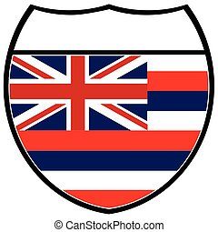 Hawaii Flag In An Interstate Sign - Hawaii state flag in an...