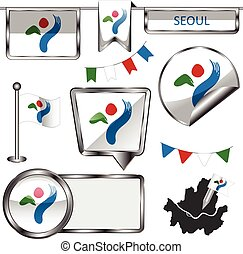 Glossy icons with flag of Seoul - Vector glossy icons of...