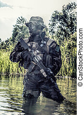Jungle warfare unit - Bearded soldier of special forces in...