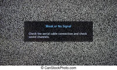 Weak or No Signal inscription on television screen with...