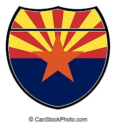 Arizona Flag In An Interstate Sign - Arizona flag in an...