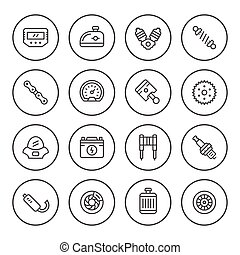 Set round line icons of motorcycle parts isolated on white....