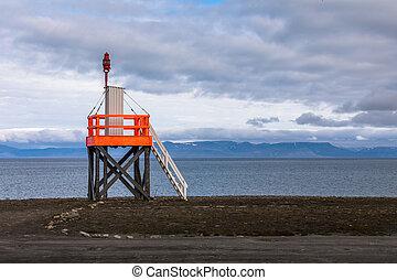 Light tower at the beach near longyearbyen, spitsbergen,...