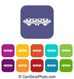 Monorail train icons set illustration in flat style In...