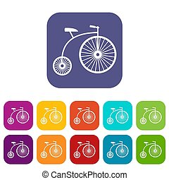 Penny-farthing icons set illustration in flat style In...
