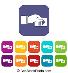 Hand with parking ticket icons set illustration in flat...