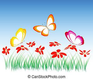 flowers and butterflies,