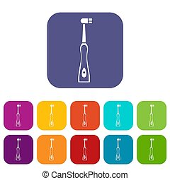 Electric toothbrush icons set