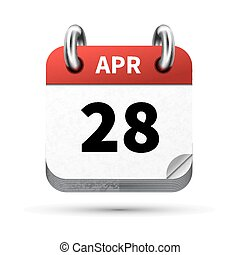 Bright realistic icon of calendar with 28 april date...