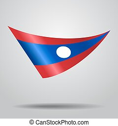 Laos flag background. Vector illustration. - Laos flag wavy...
