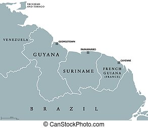 Guyana, Suriname and French Guiana political map with...