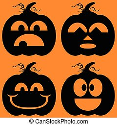 Jack o Lanterns Silhouettes - Illustrated set of...