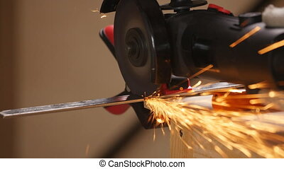 Metal cutting with a grinding machine. Sparks when grinding...