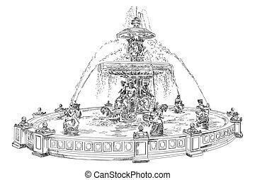 Fountain at Place de la Concord in Paris hand drawing image