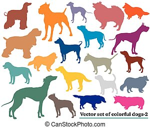 Set of colorful dogs silhouettes-2 - Vector set of colorful...