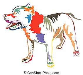 Colorful decorative standing portrait of American Pit Bull...