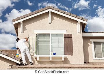 Haus baustelle clipart  Stock Bilder von trimmen, haus, fensterläden, daheim, gemälde ...