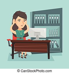 Tired caucasian office worker clasping her head.