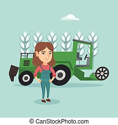 Farmer standing on the background of combine.