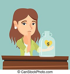 Caucasian broke woman looking at empty money box. - Young...