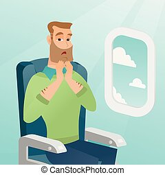 Young caucasian man suffering from aerophobia. - Young...