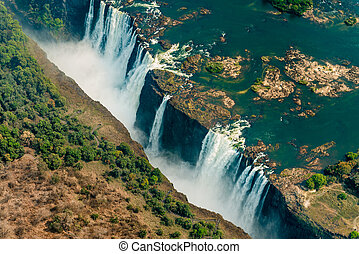 Victoria Falls at drought, aerial shot - Victoria Falls at...