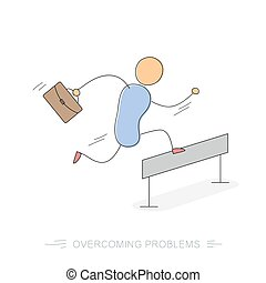 Running businessman - Overcoming problems - Vector doodle...