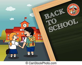Back to school background desgin with chalkboard. Vector...