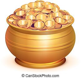 Gold pot full of gold coins. Isolated on white vector 3d...