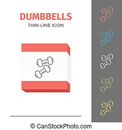 Simple line stroked two of dumbbells vector icon