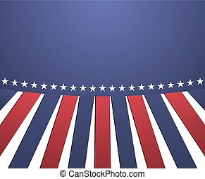 Poster in colors of USA - blue, red and white with stripes and stars