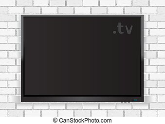 Flat TV on white walll