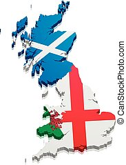 Map England Scotland Wales - detailed illustration of a map...