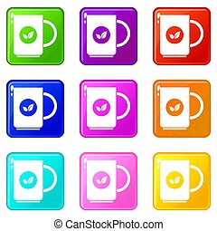 Cup of tea icons 9 set - Cup of tea icons of 9 color set...