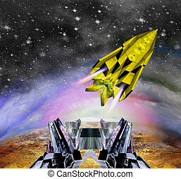Space shuttle starting from the spaceport. Spaceship flying...