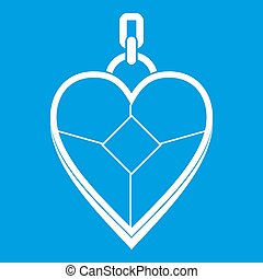 Heart shaped pendant icon white isolated on blue background...