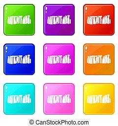 Stonehenge icons 9 set - Stonehenge icons of 9 color set...