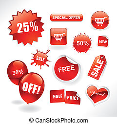 Sale items - Set of red sale stickers, tags, buttons and...