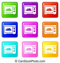 Microwave icons 9 set - Microwave icons of 9 color set...